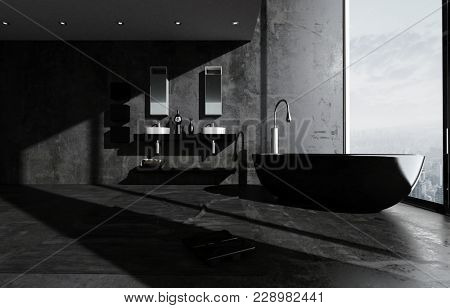 Dark modern luxury bathroom interior with black and grey decor, a freestanding oval tub, double wall-mounted vanities and large floor to ceiling view window. 3d rendering