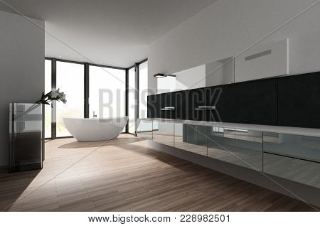 Large spacious bathroom interior with stylish freestanding tub in front of a floor to ceiling glass windows and long reflective cabinets and vanities along one wall over a wooden floor. 3d rendering