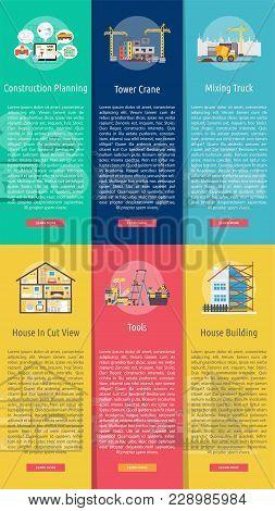 Building And Construction Vertical Banner Concept | Set Of Great Banner Design Illustration Concepts