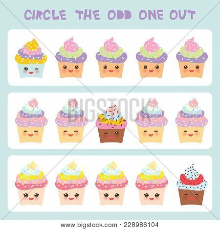 Visual Logic Puzzle Circle The Odd One Out. Kawaii Colorful Cupcake With Pink Cheeks And Winking Eye