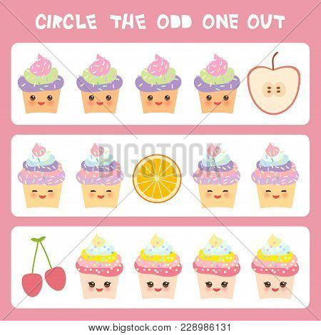 Visual Logic Puzzle Circle The Odd One Out. Kawaii Colorful Cupcake Apple Orange Cherry  With Pink C