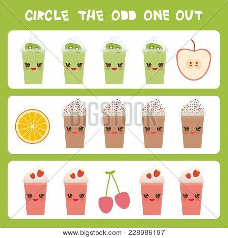 Visual Logic Puzzle Circle The Odd One Out. Kawaii Colorful Apple Coffee Smoothies Orange Cherry Wit
