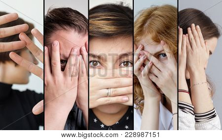 Set Of People That Are Hiding Their Face With Fingers. Concept Of Being Shy And Disappointed