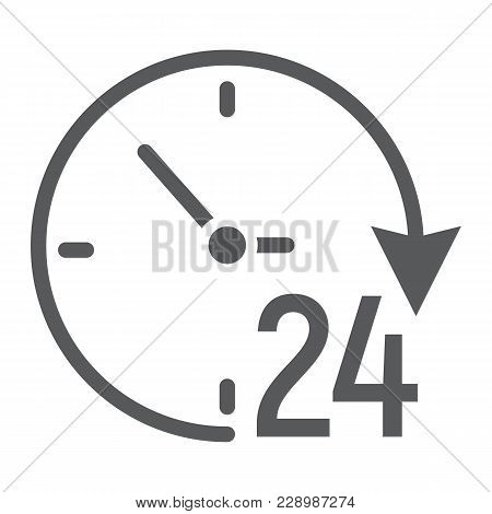 Twenty Four Hour Glyph Icon, E Commerce And Marketing, Clock Sign Vector Graphics, A Solid Pattern O