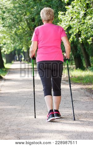 Elderly Senior Woman In Sporty Clothes Practicing Nordic Walking In Summer Park, Concept Of Healthy