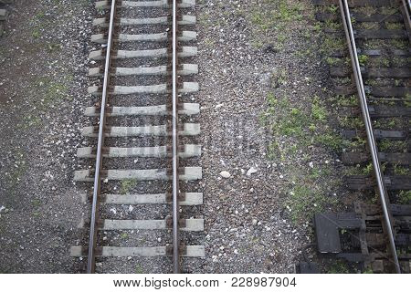 Old And New. There Are Two Railway Lines. One Railway Line Is Old And Second Railway Line Is Modern.