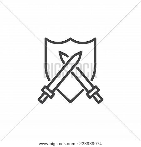 Crossed Swords And Shield Outline Icon. Linear Style Sign For Mobile Concept And Web Design. Simple