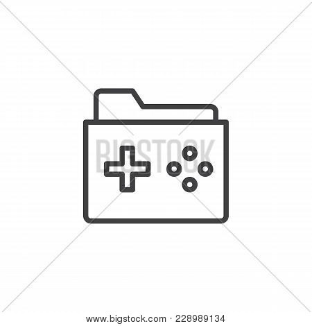 Game Folder Outline Icon. Linear Style Sign For Mobile Concept And Web Design. Folder With A Game Pa