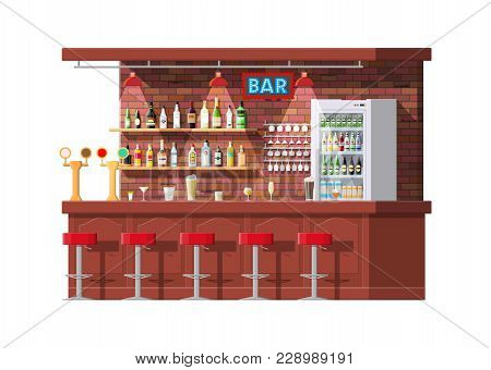 Drinking Establishment. Interior Of Pub, Cafe Or Bar. Bar Counter, Chairs And Shelves With Alcohol B