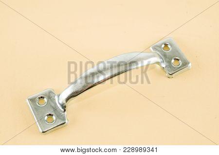 Photo Picture Of Metal Case Handle Aluminium Background,