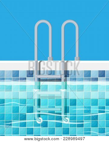 Swimming Pool And Ladder. Blue Tiles And Metal Ladder. Holiday Resort, Spa, Sport, Rest, Pool Party.