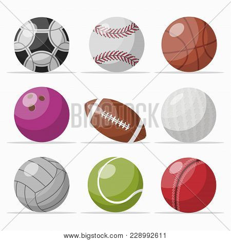 Illustration Of Set With Playing Balls For Different Games On White Background.