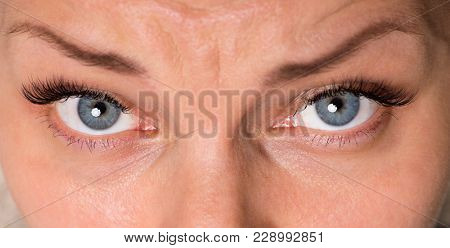 Close-up face of beautiful young woman with beautiful blue eyes and big pretty eyelashes and eyebrows. Macro of human eye - open expressive look up.