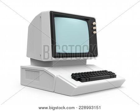 Old Personal Computer Isolated On A White Background. 3d Illustration