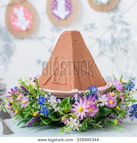 Easter Chocolate Quark Dessert, Paskha, Flower Decorations, Square