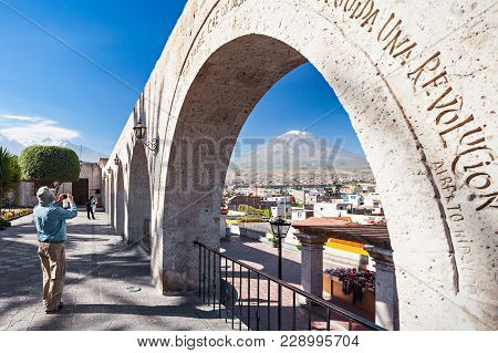 Decorated Arch At The Yanahuara Viewpoint In Arequipa, Peru