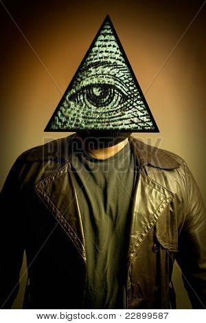 Man Wearing Illuminati Eye Of Providence Mask