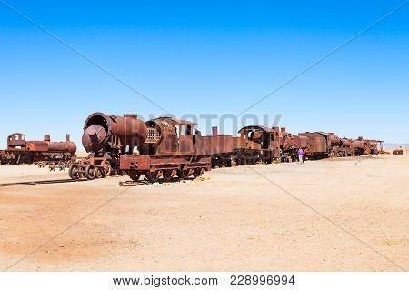 Rusty Old Steam Train At The Train Cemetery, Salar De Uyuni, Bolivia