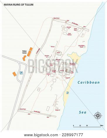 Vector Map Of The Mayan Ruins Of Tulum, Mexico