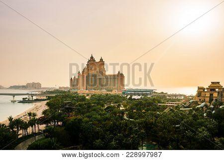 Dubai, United Arab Emirates - February 24, 2018: Atlantis Hotel And Water Park Panorama On The Palm