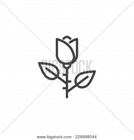 Rose Flower Outline Icon. Linear Style Sign For Mobile Concept And Web Design. Floret Simple Line Ve