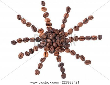 Sun From Coffee Beans On White Background, Isolated, Cheerful Morning With Coffee, Wake Up With Coff