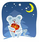 The stylized mouse with a gift in a red box. Digital illustration. poster