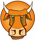 Vector illustration of a head of a Mad Cow poster