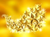 Golden Christmas celebration stars flow on gold dust sparkling background poster