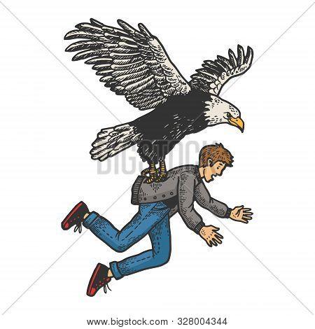 Eagle Bird Of Prey Kidnaps Human Person Sketch Engraving Vector Illustration. T-shirt Apparel Print