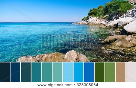 Color Matching Palette From Photo Of Romantic Coastline Of Aegean Sea Of Sithonia Peninsula, Chalkid