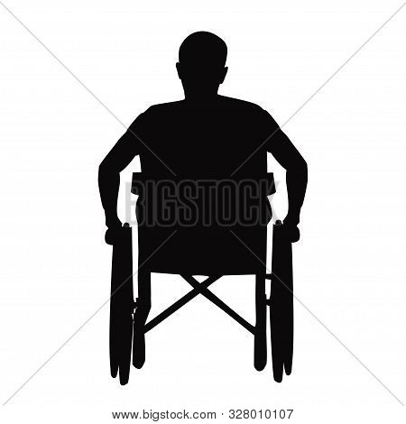 Silhouette Of A Man In A Wheelchair. International Day Of Disabled People December 3 Concept Design.
