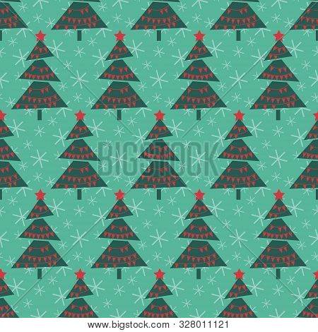 Vintage Christmas Trees. Seamless Vector Illustration With Abstract Christmas Trees