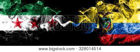 Syrian Arab Republic Vs Ecuador, Ecuadorian Smoke Flags Placed Side By Side. Thick Colored Silky Smo