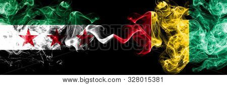 Syrian Arab Republic Vs Guinea, Guinean Smoke Flags Placed Side By Side. Thick Colored Silky Smoke F