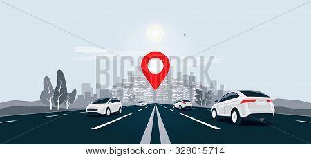 Traffic Cars On Highway To City Skyline Landscape Motorway Panoramic Horizon View. Vector Cartoon Il
