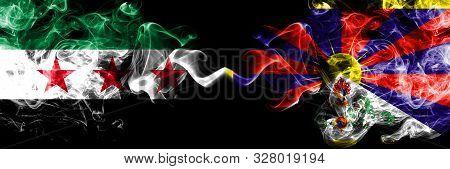 Syrian Arab Republic Vs Tibet, Tibetan Smoke Flags Placed Side By Side. Thick Colored Silky Smoke Fl