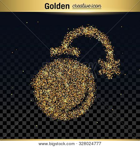 Gold Glitter Vector Icon Of Exploding Bomb Isolated On Background. Art Creative Concept Illustration