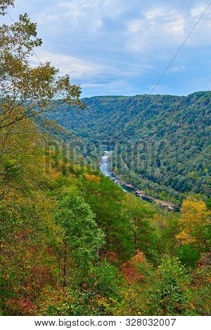 New River As Veiwed From Overlook At New River Gorge National Park, Wv.
