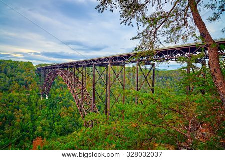 New River Gorge Bridge As Viewed From Overlook.