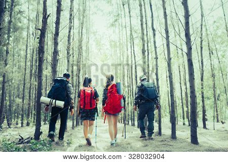 Rear View Of Man And Woman Hikers Trekking A Rocky Path In Forest. Hiker Couple Exploring Nature Wal