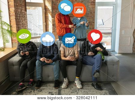 Creative millenial people connecting and sharing social media. Modern UI icons as heads. Concept of contemporary technology, networking, gadgets in our common life. Yong happy men and women with smartphones and tablet. poster
