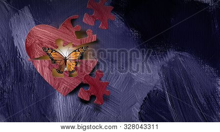 Graphic Illustration Of Iconic Butterfly Emerging Out Of Heart Through A Puzzle Piece Shape. Art App