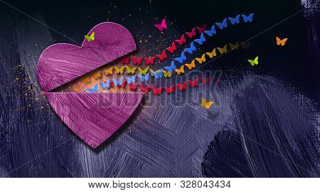 Graphic Illustration Of Stream Of Iconic Butterflies Releasing Out Of Opening Heart. Art Applicable