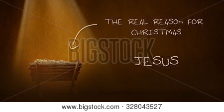 Christmas Time. Nativity Illustration Of Manger With Baby Jesus. Light Illustration.