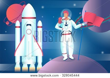 An Astronaut Stands On The Planet And Holds The Ensign In The Stratosphere.