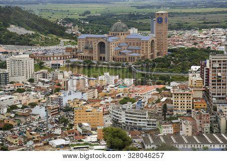 Aparecida, São Paulo, Brazil - January 13, 2016: Aerial View Of Cathedral Of Nossa Senhora  Aparecid