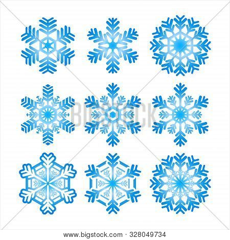 Set Of Isolated Snowflake Icon Vectors, Light Blue Snowflake Design And White Background.