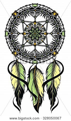 Indian Dream Catcher. Dream Catcher Decorated With Feathers