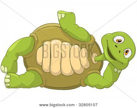 Cartoon Character Funny Turtle Isolated on White Background. Lie. Vector EPS 10.